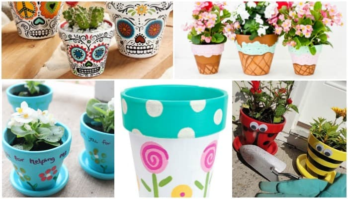 Painted clay pots, flower pots, DIY