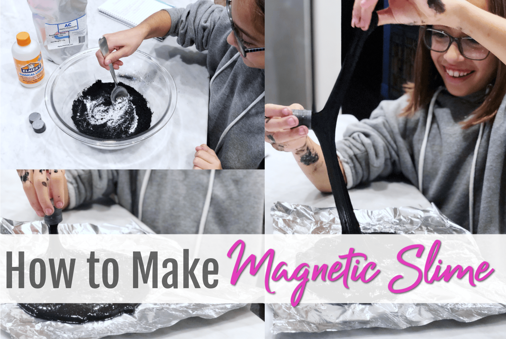 How to make Magnetic Slime, DIY Recipe, Easy tutorial, activities for kids, science project