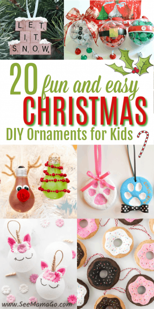 DIY Christmas Ornaments for Kids, Easy, funi ideas to create Christmas decorations that anyone can do.