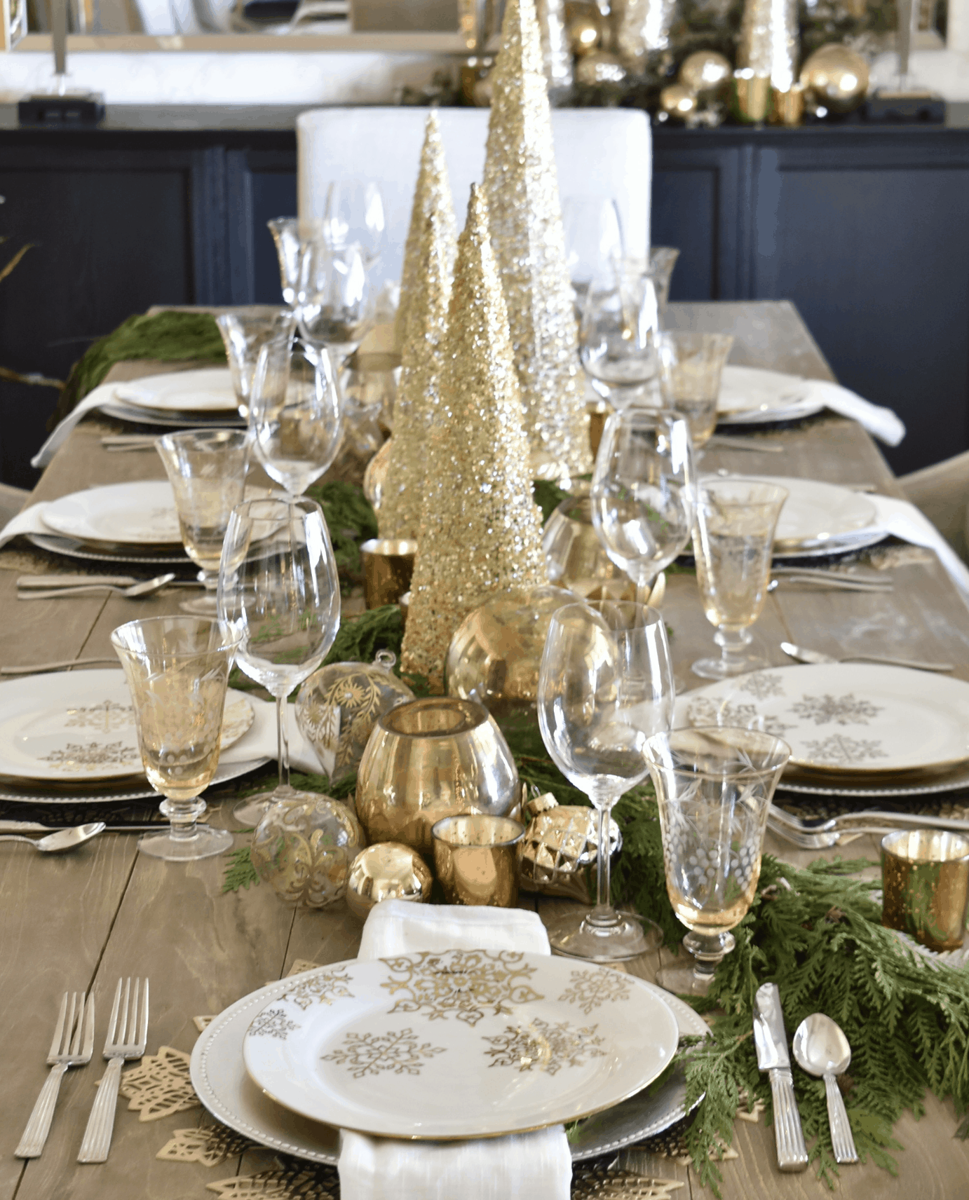 Gold Tree Holiday Table Decor