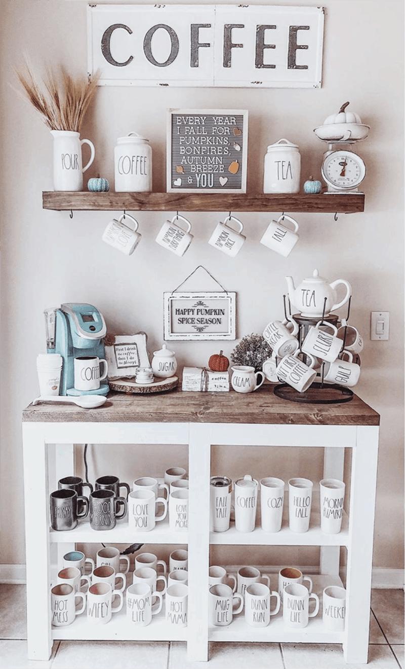 full of mugs DIY Coffee station