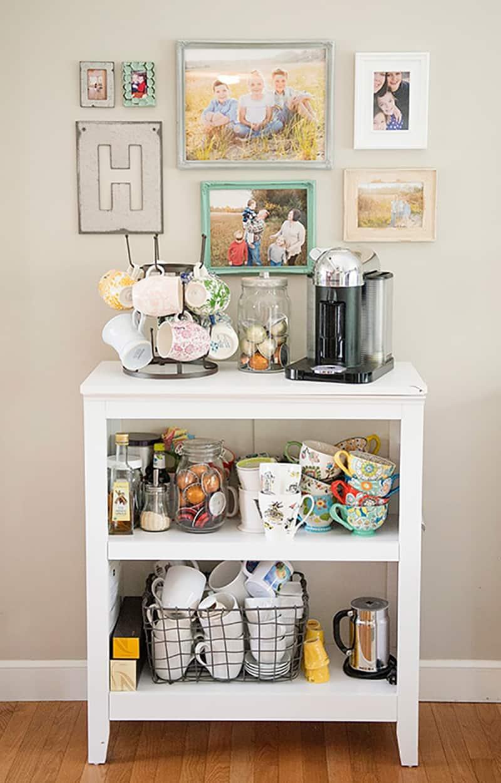 book shelf coffee station