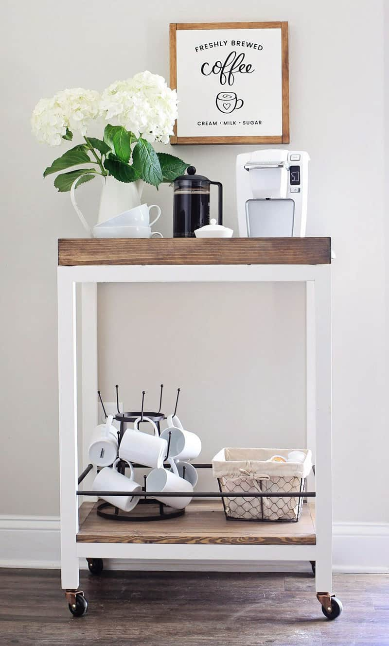 small bar cart coffee station