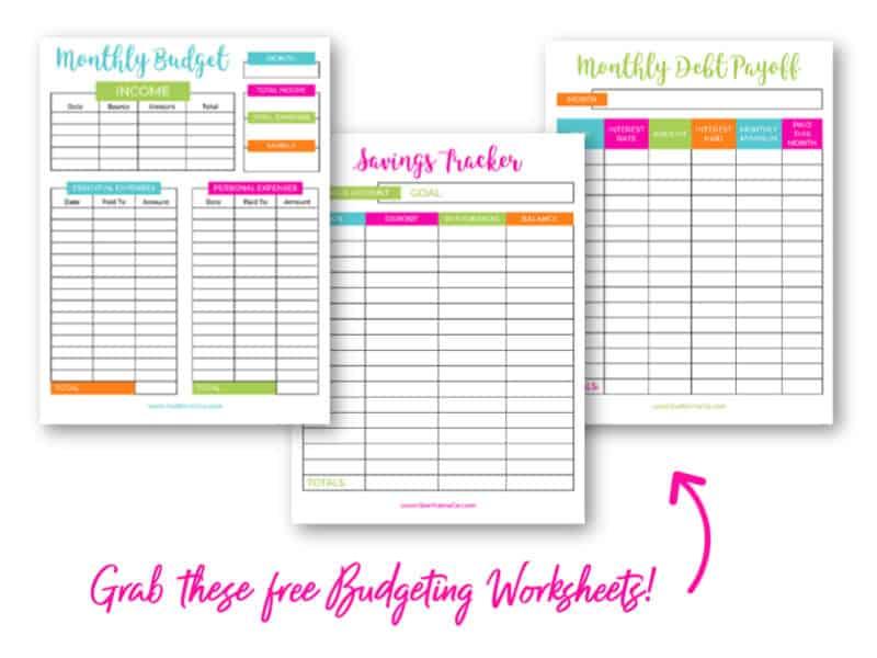 FREE Budgeting Worksheets