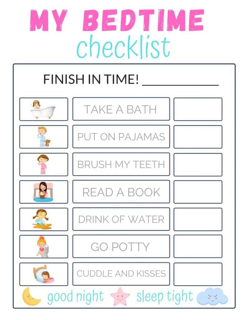 Bedtime Routine Checklist for Toddlers