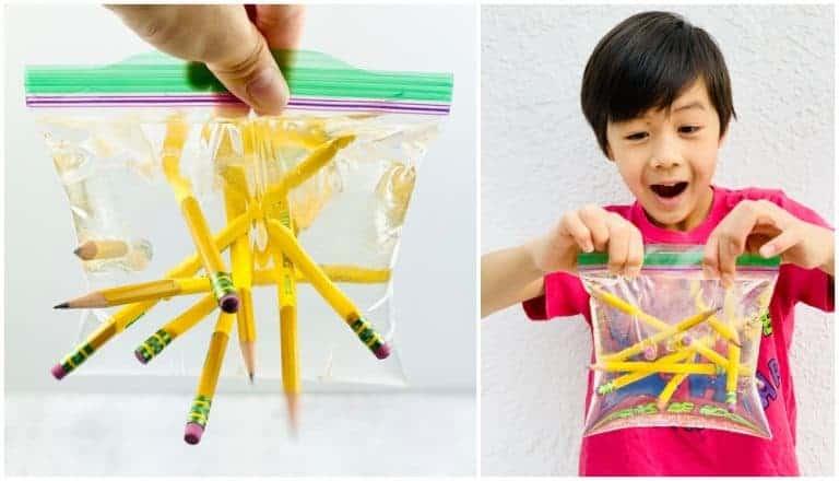 Pencil water bag experiment